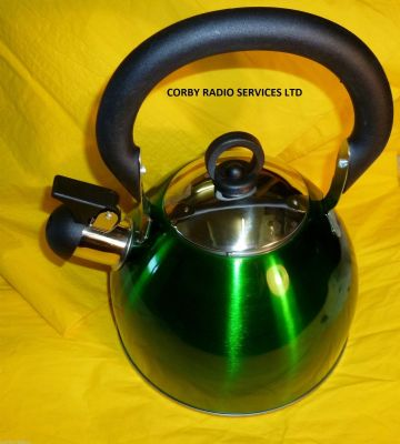 WHISTLE KETTLE STAINLESS STEEL  2.5L GREEN METALLIC  CAMPING CARAVAN